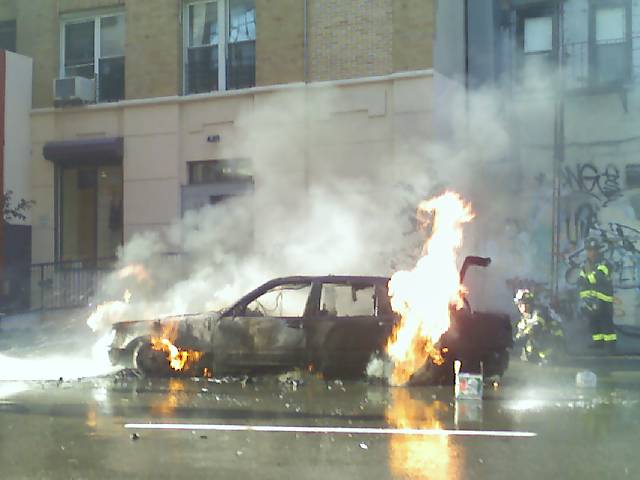 A Mercedes on Fire in New York City
